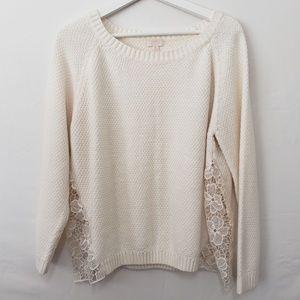 CeCe Sweater Lace Raglan White Size XL